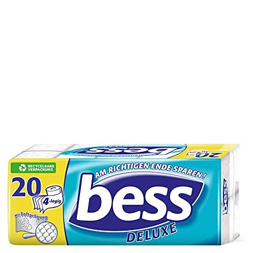 Bess Deluxe Toilettenpapier 4-lagig Riesenpackung (20 Rollen x 150 Blatt), 1er Pack