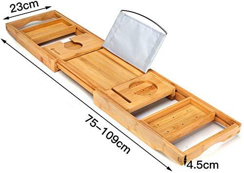 Pkfinrd Weentop-hm Badkuip Caddy Bamboe Over Bad Brug Tub Caddy Lade – Houten Badkuip Rack Bad Plank Met Boek Tablet Houder Cellphone Lade En Geïntegreerde Wijnglas Houder voor Thuis Spa Ervaring