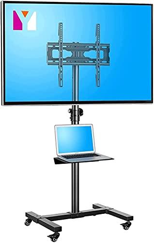 Soporte para TV móvil Soporte para TV con Ruedas Carrito con Ruedas Soporte de Piso Ajustable en Altura con Estante (Color: Negro)