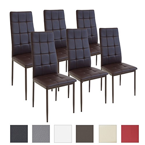 Albatros Silla Rimini, Set de 6 sillas, Marrón, certificada por la SGS, Silla de Comedor