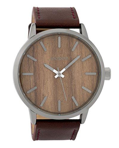 Oozoo Herrenuhr mit Lederband Wood 45 MM Dunkelbraun Holz/Dunkelbraun C9258