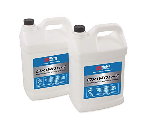 US Water OxiPro-7 Hydrogen Peroxide Blend - 2.5 Gallon Bottles (2), Professional Grade Oxidizer, Removes Rotten Egg Smell & Pollutants from Water, NSF Certified