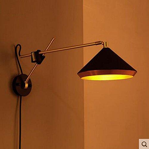 WF Wandleuchte amerikanische landwirtschaftliche Industrie Wind Retro Schlafzimmer Bett Stahl Schmiedeeisen Faltwand Lampe ( farbe : Schwarz )