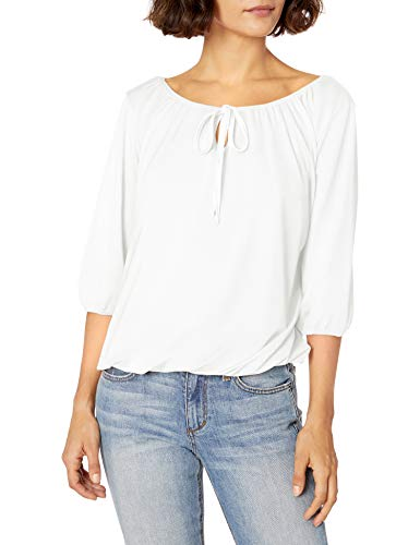 Star Vixen Women's Petite 3/4 Sleeve Peasant Top with Keyhole Tie and Elastic Bottom Hem, Ivory, PM
