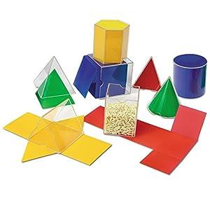 Veranschaulicht Symmetrie, Umfang, Oberflächen und Volumen Enthält je 1x: 2D-Form und 3D-Form Formen: Dreiecksprisma, Würfel, Kegel, Zylinder, rechteckiges Prisma, hexagonales Prisma, Dreieckspyramide und quadratische Pyramide Maße: 8cm 8-teiliges S...