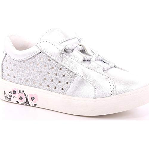 PRIMIGI 5433722 Sneakers Scarpe Bambina Pelle Argento Traforate Glitter