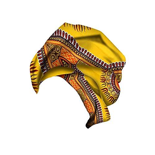 Hzjundasi Pañuelo con Estampado de Algodón de cera Africana para Mujer - Bufanda para la Cabeza Corbata de Estiramiento del Cabello Largo Turbante