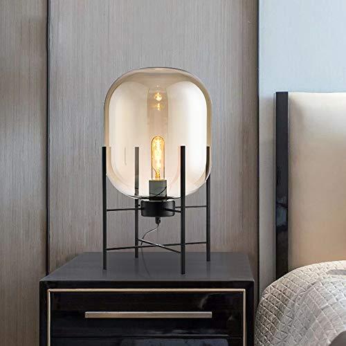 SHENLIJUAN Vidrio lámpara de Mesa lámpara de cabecera Dormitorio Sala de Estar Sofá lámpara Decorativa 28 * 45cm (Color : Marrón)
