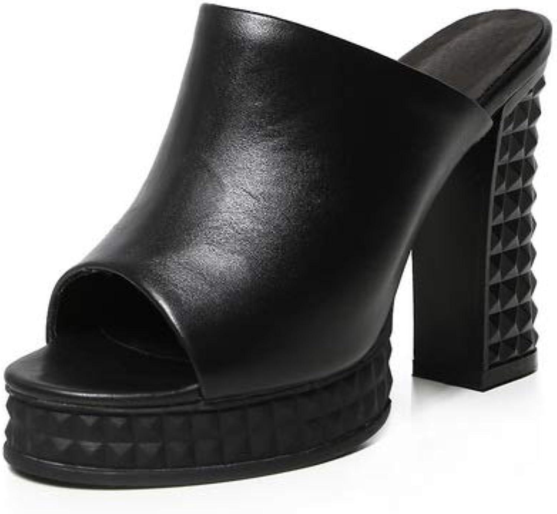 AdeeSu Womens Chunky Heels Platform Peep Toes Cow Leather Sandals SLC04445