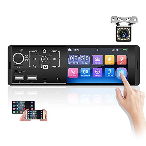 Hikity 1 Din Autoradio con Bluetooth Touchscreen Capacitivo da 4 Pollici Autostereo Mirror Link FM AUX USB per iOS/Android Telefono + Microfono & Controller al Volante + Telecamera di Retromarcia