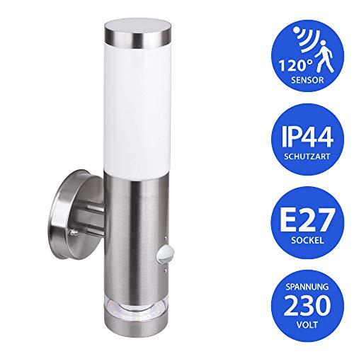 Aussenleuchte 232A21 mit Bewegungsmelder Wandleuchte Aussenwandlampe Wandlampe Aussenwandleuchte Edelstahl E27 Fassung…
