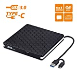 External DVD Drive, Amicool USB 3.0 Type-C CD DVD +/-RW Optical Drive USB C Burner Slim CD/DVD ROM Rewriter Writer Reader Portable for PC Laptop Desktop MacBook Mac Windows 7/8.1/10 Linux OS Apple