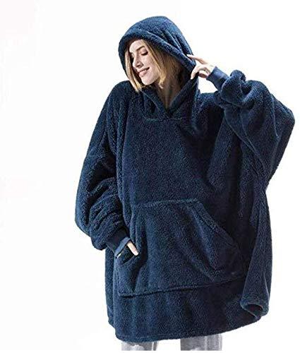 Couverture Sweat à Capuche Super Douce, Pull Plaid Sweat à Capuche Chaude et Surdimensionnée, Flannel Couverture Polaire Hoodie Sherpa avec Grande Poche, Plaid Pull pour Hommes et Femme (Bleu)