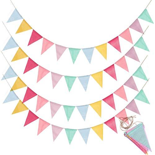 Lot de 4 guirlandes de fanions - Guirlande de fanions - Pour l'extérieur - Décoration pour mariage, fête, Noël, anniversaire, fête de naissance, Noël