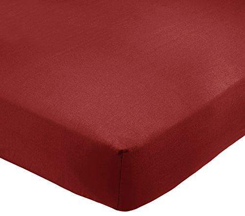 AmazonBasics - Lenzuolo king con angoli, Policotone 200 fili, bordeaux - 180 x 200 x 30 cm