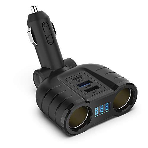 Cigarette Lighter Splitter QC3.0 Adapter, 2-Socket 12V 24V Multi Power Port USB C Car Charger with LED Voltage Display Dual USB, PD Port for Smart Phones, Tablets, GPS Dash Cam- Build in 10A Fuse