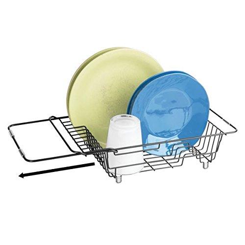 mDesign Rejilla escurreplatos para el Fregadero - Escurridor de Platos, Vasos y Tazas - Secaplatos de Metal Extensible y Compacto - Negro Mate