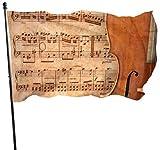 Viplili Cello auf Alten Musikblatt verrostet altes gelbes Pa große dekorative Flagge dekorative Flaggen im Freien 3x5 Fuß vibrierende Farben Qualität Polyester und Messing Ösen