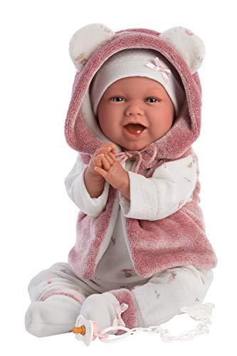 Llorens Muñeca Mimi, con Ojos Azules y Cuerpo Suave, muñeca de bebé con Traje Rosa, Chupete, Cadena para Chupete y Manta Suave con Bonitos Ojales, 42 cm, 1074070
