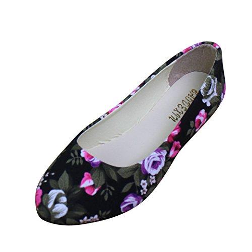 Chinesische Bestickte Schuhe Elegant Mary Jane Halbschuhe Sommer Sandalen Ballerina Espadrilles Flats Damen,Schwarz,EU 40