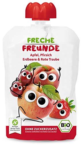 Freche Freunde Bio Quetschie Apfel, Pfirsich, Erdbeere & rote Traube, Fruchtmus im Quetschbeutel für Babys ab 6 Monaten, glutenfrei & vegan, (6 x 100g)