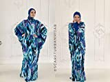 Blue colorful Maxi Dress Plus Size, Elegant Prayer dress, Farasha Caftan, Muslim abaya, Modern hijab, Burqa, Namaz salat dress, islamic gift