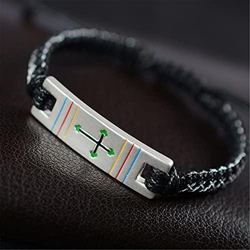 Feng Shui Pulsera De Riqueza para La Protección S999 Sterling Silver Cross Braided Pulsera Pareja Pulsera Joyería De Vacaciones Ajustable Ward Off Mal,Negro