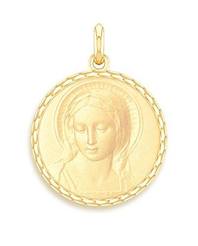 Virgen Amabilis-Medalla religiosa-oro amarillo 9quilates-Diámetro: 17mm-www.diamants-perles.com