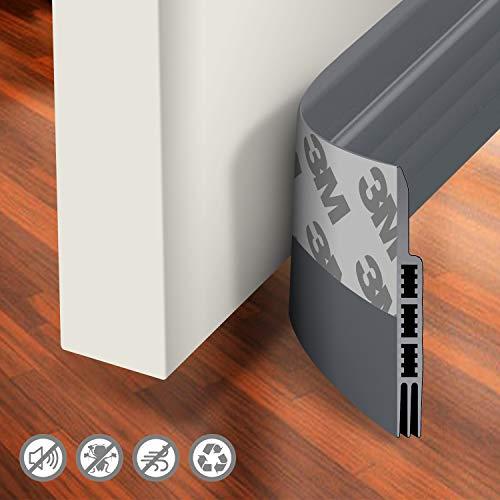 """Holikme Door Draft Stopper Under Door Draft Blocker Insulator Door Sweep Weather Stripping Noise Stopper Strong Adhesive 39"""" Length Grey"""