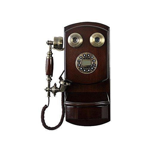 YSNUK Teléfono montado en la Pared de Madera Vintage Marcado rotativo Retro inalámbrico con conexión de Cable teléfono de línea Fija Teléfono rotatorio (Color : A)