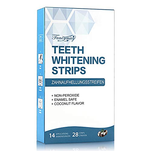 Teeth Whitening Strips, Fancymay Non-Slip Dental Whitener Whitening Strips Kit with Coconut Oil, 14 treatments, 28 strips