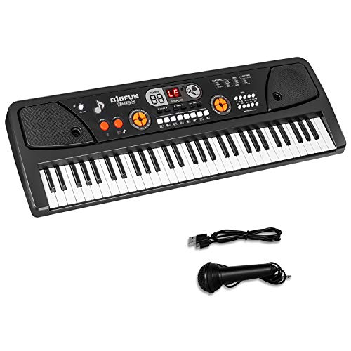 M SANMERSEN Piano for Kids with Microphone, Kids Piano Keyboard for Beginners Portable Electronic Keyboard with MP3 Function/ Led Display 61 Keys Musical Piano Toys for Boys Girls Ages 3-12