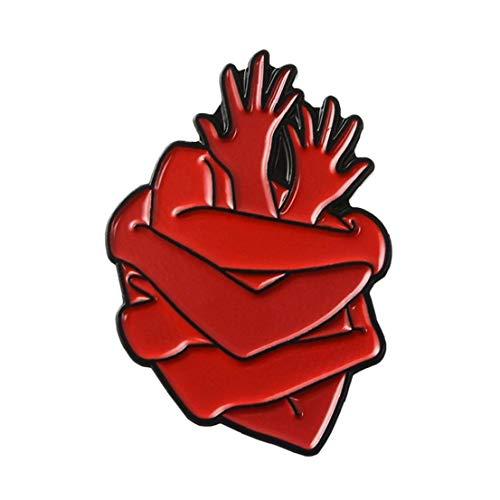 Regalo de la joyería médica órgano del Esmalte del corazón Valiente Hug broches Bolsa Ropa Insignia de Solapa Pin del corazón para la decoración