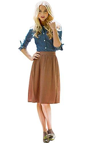 Full Gathered Skirt in Rust Shell Print