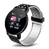 SSGLOVELIN 2020 Nuevo Reloj Inteligente 119 Plus Pulsera Hombres Mujeres Niños Control de Actividad podómetro Contador de Paso del Reloj del Deporte for Android iOS (Gem Color : Black)