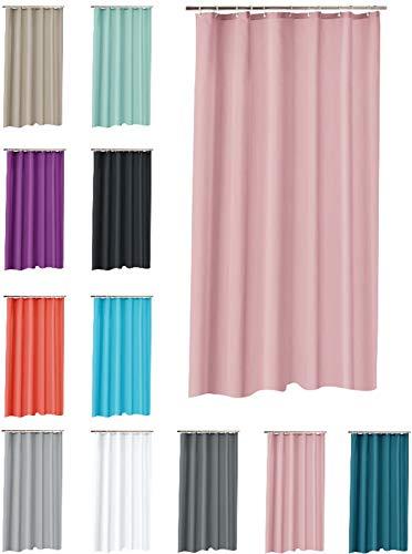 one-home Duschvorhang 180x200 cm wasserdicht Uni Badewannen Vorhang inklusive 12 Ringe, Farbe:rosa