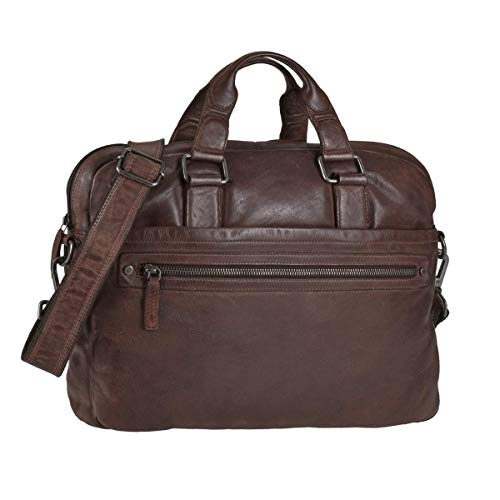 Greenburry Leder OfficeBag Aktentasche für A4 Format Notebooktasche Coffee braun Vintage Washed
