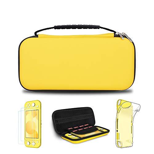 Simpeak Zubehör Kompatibel für Nin tendo Switch Lite, 4 in 1 Schutzzubehör (2 * Schutzfolie + Tasche + TPU Weich Hülle + Reinigungszubehör) - Gelb