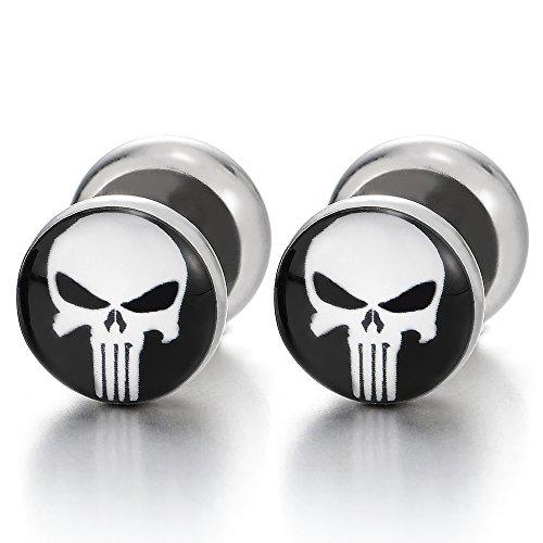 Acero Inoxidable Negro Blanco Punisher Cráneo Pendientes de Hombres, Enchufe Falso Fake Cheater Plugs Gauges, 2 Piezas
