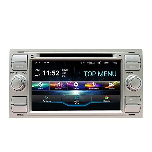 SWTNVIN Android 10.0 Coche Audio Cabezal estéreo Fits for Ford Focus Fusion Transit Fiesta Galaxy Reproductor de DVD Radio 7Pulgadas HD Pantalla táctil navegación SWC 2GB + 80GB(plata06)