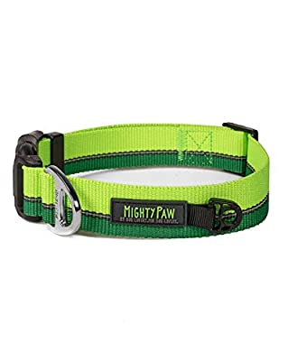 Mighty Paw Reflective Dog Collar | Premium High Visibility Collar with Reflective Stitching. Weatherproof, Heavy Duty Hardware, Stylish Colors and Design. Perfect for Small and Large Pets (Green)