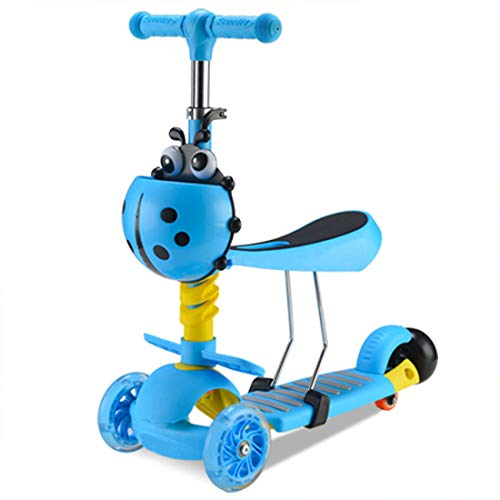 Find Bargain LXWM Kids Smart Balance Bike 3 in 1 Cute Seat Storage Basket Colorful Kick Scooter Chil...