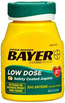 Aspirin Regimen Bayer 81mg Enteric Coated Tablets, #1 Doctor Recommended Aspirin Brand, Pain Reliever,300 Count