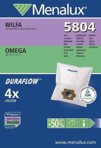 Menalux 5804 4 Sacs Aspirateur Compatible pour Mondilec / Indesit + 1 Filtre Moteur