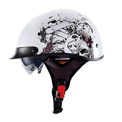 ZHEN Retrobril Harley Helm, comfortabel, Harley Helm, voor volwassenen, voor Street Bike Cruiser Chopper bromfiets scooter, ECE getest