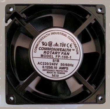 VENTOLA ASSIALE 120x120x38mm 220-230V SU CUSCINETTI A SFERA E TELAIO METALLICO -20/+80 °C