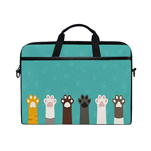 WowPrint Laptop Sleeve, Cute Animal Cat Paw Print Laptop Case Shoulder Strap with Handle Portable Notebook Computer Bag for 13 13.3 14 15 inch