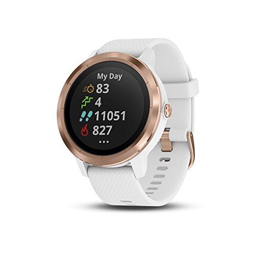 Garmin Vivoactive 3 - Montre Connectée de Sport avec GPS et Cardio Poignet, Or Rose avec Bracelet Blanc