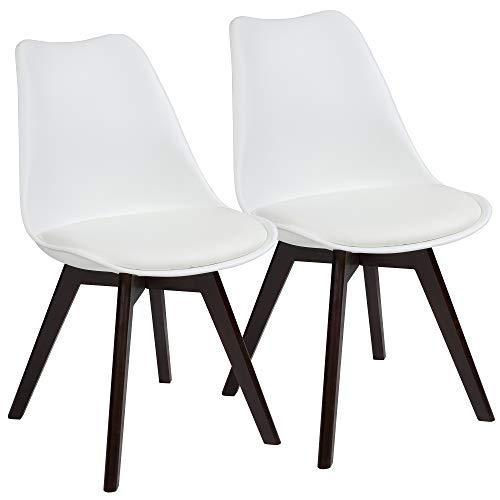 Albatros Esszimmerstühle AARHUS 2-er Set, Weiss mit Beinen aus Massiv-Holz, Nussbaum, skandinavisches Retro-Design