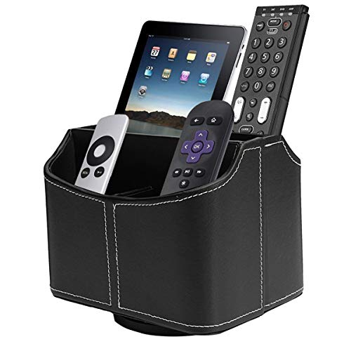 Avecell Spinning Remote Control Holder with 5 Compartments - Rotating PU Leather Remote Caddy Desktop Organizer Store TV, DVD, Blu-Ray, Media Player, Heater Controllers, Black